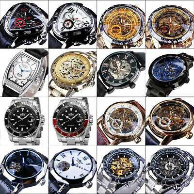 £17.06 • Buy Mens Stainless Steel Leather Steampunk Skeleton Wind Up Mechanical Wrist Watches