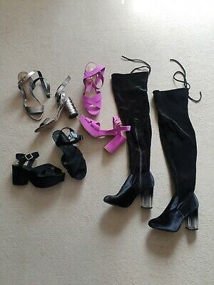 £22.99 • Buy Bundle Of Womens Thigh High Boots Sandals Shoes Uk 5 Missguided Primark New Look