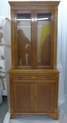 £100 • Buy Antique Wooden Inlaid Reproduction Glass Fronted Book Case