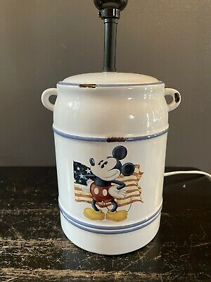 $40 • Buy Ceramic Mickey Mouse Lamp American Flag Milk Can Canister Style Mickey Mouse