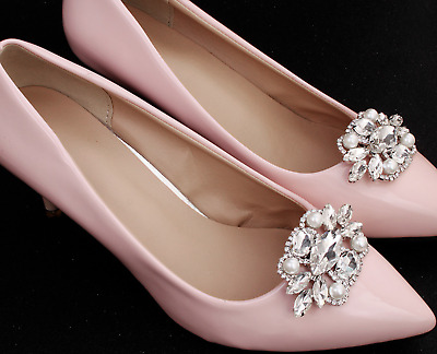 £5.99 • Buy 2 Pcs Crystal Pearl Wedding Shoes Shoe Clips Jewelry Charms