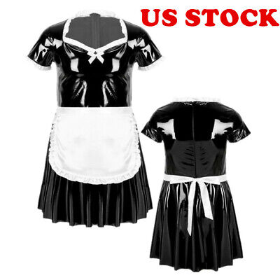 $24.43 • Buy US Men's Sissy French Maid Crossdress Costume PVC Leather Fancy Dress With Apron