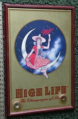 $125 • Buy Miller High Life Lady In The Moon Back Of Bar Security Mirror, 1999