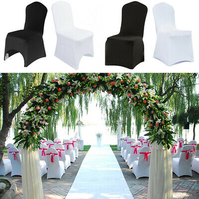 £89.95 • Buy 50/100pcs Elastic Chair Covers Spandex Lycra Black White Wedding Party Banquet