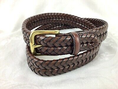 $21.55 • Buy Fossil Mens 38 Frame Style Buckle Braided Woven Belt Brown Leather Round End Tip