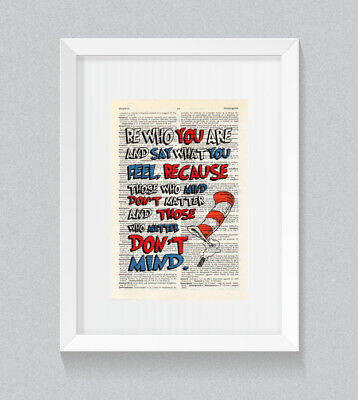 £5 • Buy Dr Seuss Be Who You Are Quote Vintage Dictionary Book Print Wall Art