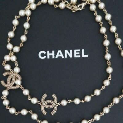 £915.11 • Buy Auth CHANEL CC Logo Charm Long White Pearl Necklace Gold Used Form Japan F/S