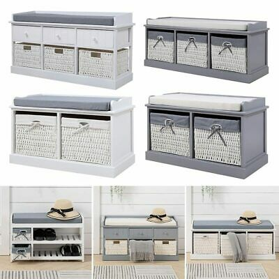 £125.95 • Buy Shoes Rack Hallway Storage Bench Cabinet Seat With Drawer Basket Padded Cushion