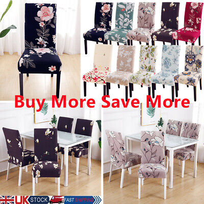 £3.99 • Buy UK Floral Printed Stretch Dining Chair Covers Seat Slipcovers Party Decor Flower