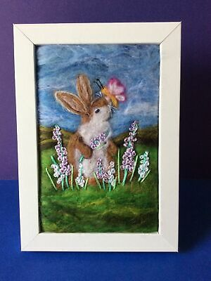 £30 • Buy Handmade Needle Felted Picture Rabbit Animal Titled 'Fluttery Butterfly'