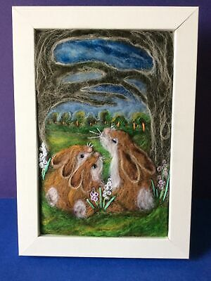 £30 • Buy Handmade Needle Felted Picture Rabbits Animal Titled 'The Clearing'