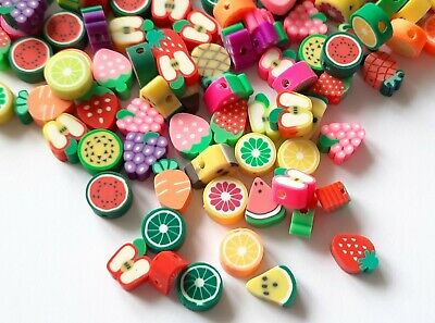 £1.99 • Buy Mixed Polymer Clay Fruit Theme Beads For Jewellery Making Earrings Pack Of 25