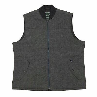 $38 • Buy Woolrich Men's Large Wool Vest Lined Gray Bear Claw Quilted Lining Zip Front