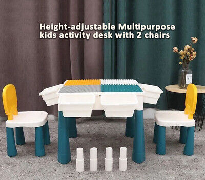 £48 • Buy Kids Activity Table Chairs Storage Study Drawing Baseplate Compatible Lego Duplo