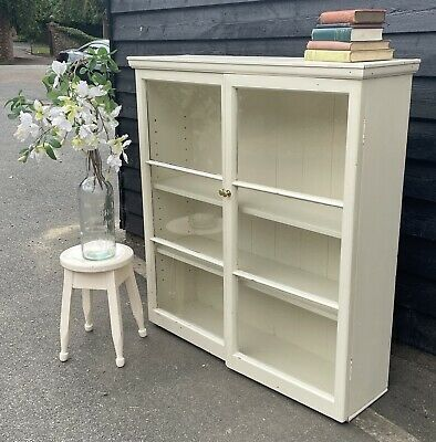 £145 • Buy Old Painted Pine Glazed Bookcase Display Cabinet