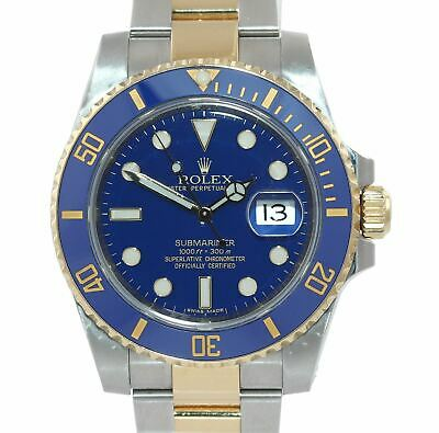 $ CDN17795.51 • Buy DISCONTINUED Rolex Submariner Ceramic 116613LB Two Tone Gold Blue Smurf Watch