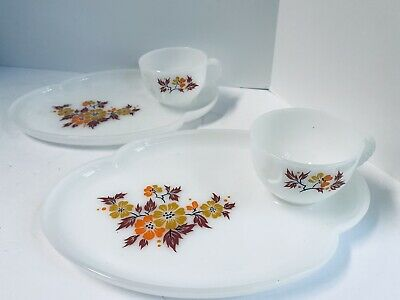 $24 • Buy Two Vintage Federal Milk Glass Patio Snack Set  Flower Design Plate & Cup