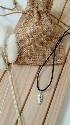 £4.95 • Buy Boho Feather Cord Choker Indie Necklace Silver Feather Charm Festival Bohemian