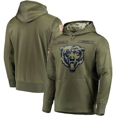 $34.88 • Buy Chicago Bears Olive Salute To Service Sideline Therma Hoodie Sweater Pullover