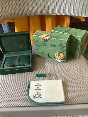 $ CDN237.92 • Buy Vintage Rolex Oyster Watch Presentation Green Leather Box, Pillow And Outer Box
