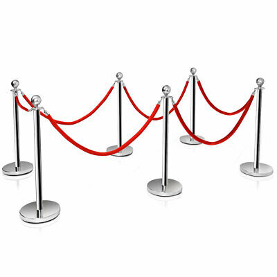 £125.99 • Buy 6 Polished Steel Queue Rope Barrier Posts Stands Crowd Control Stanchion 1.5M