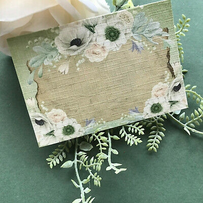 £3.20 • Buy Rustic Floral Place Name Cards Wedding Place Setting Shabby Chic Green & Ivory