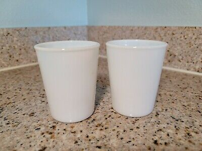 $16.99 • Buy Vintage Pair Of White Milk White Glass Opalescent 3.5  Cups Juice Tumbler BEAD