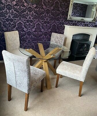 £260 • Buy Next Oak & Glass Dining Table With 4 Next Moda Chairs