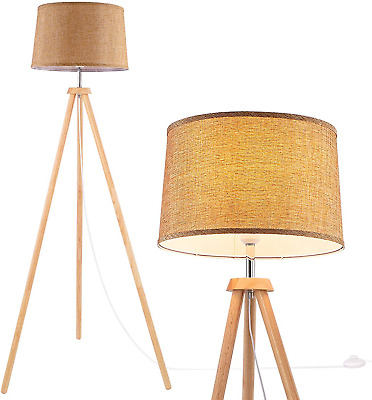 £86 • Buy WUDSEE Modern Wooden Tripod Floor Lamp For Mid-Century Living Room Bedroom With