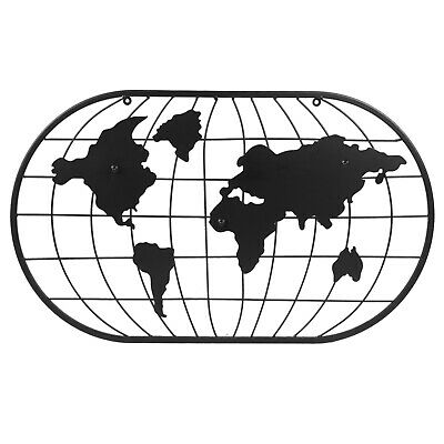 £12.99 • Buy Black Metal World Map Wall Art Magnet Notice Board Living Room Decoration Home