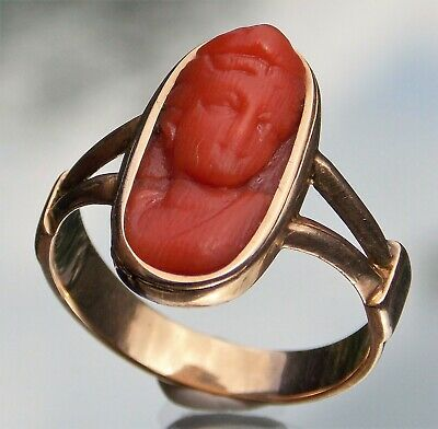 £395 • Buy Special Fine Quality Victorian 14ct Gold Chinese Lady Coral Cameo Ring Size O