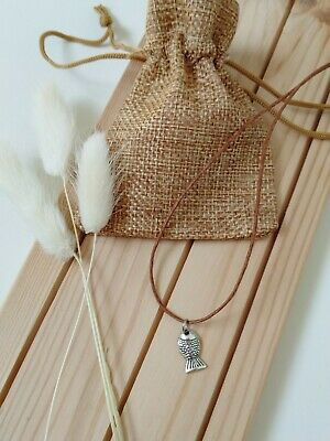 £4.95 • Buy Brown Waxed Cord Silver Fish Charm Necklace Beach Boho Indie Choker Necklace