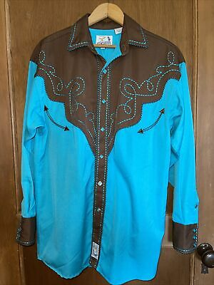 $29.99 • Buy Panhandle Slim Mens Small Western Turquoise Embroidered Diamond Buttons