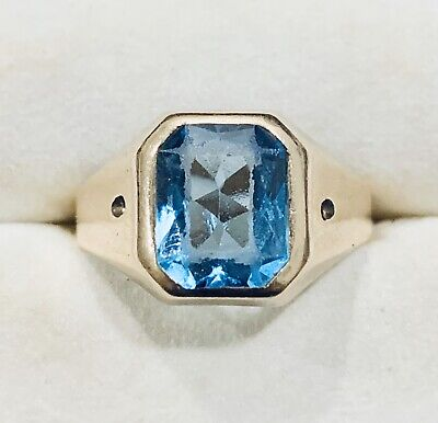 £143.78 • Buy 10k Yellow Gold Blue Topaz Ring Band Size 9