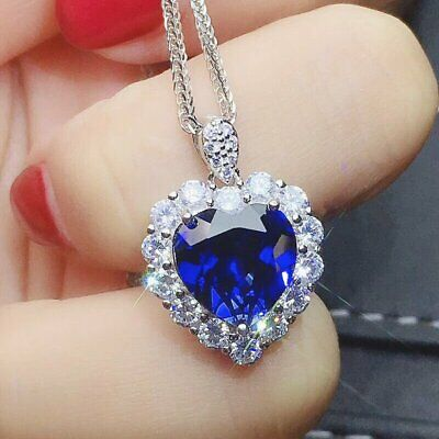 $2.95 • Buy Fashion Heart Silver Necklace Pendant For Women Blue Sapphire Jewelry