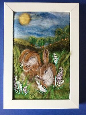 £30 • Buy Handmade Needle Felted Picture Rabbits Animal Titled 'Lazy Days'