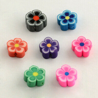 £2.80 • Buy Polymer Clay Beads Flower Mixed Colours For Jewellery Making Crafts Pack Of 25