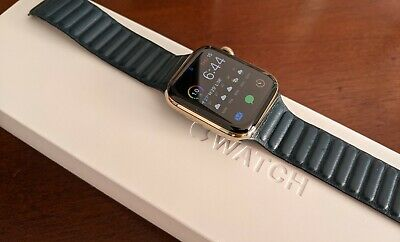 $ CDN847 • Buy 44mm Apple Watch Series 6 Gold Stainless Steel Case And Baltic Blue Leather