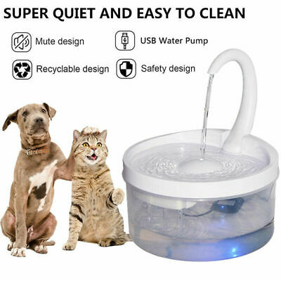 £17.59 • Buy 2L Automatic Electric Cat Water Fountain Dog Pet Drinking Dispenser W/ LED Light
