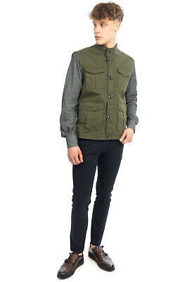 $27.49 • Buy RRP €160 FACIBA Military Style Gilet Size 50 / L Garment Dye Stand-Up Collar