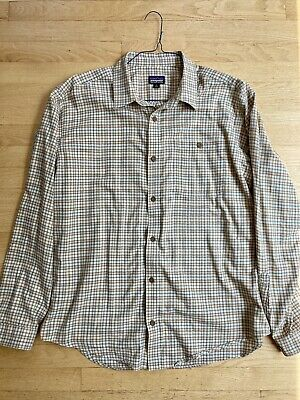 $15.95 • Buy Patagonia Plaid Organic Cotton Long Sleeve Button Up Shirt Mens Size LARGE Beige