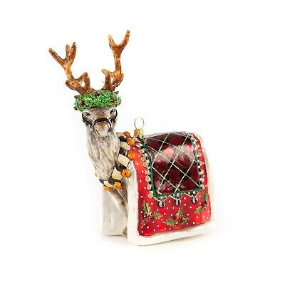 $130 • Buy NEW MacKenzie Childs ABERDEEN REINDEER Glass Ornament & Gift Box  A STATELY STAG