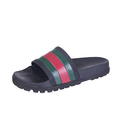 AU160.69 • Buy GUCCI Web Slide Sandals EU 43 UK 9 US 9.5 Rubber Lug Sole Footbed Made In Italy