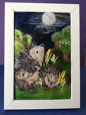 £30 • Buy Handmade Needle Felted Picture Hedgehog & Hoglets Animal Titled 'Time To Wake Up