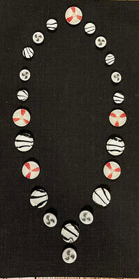 $13.49 • Buy Buttons!i White Glass Buttons With Overlays & Paint, Necklace Shape, Milk Glass