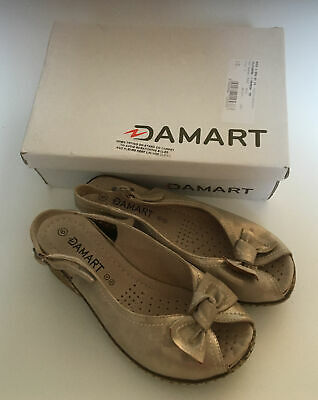 £12.99 • Buy DAMART Bow Coussin Gold With Adjustable Strap Sandals Size 6 Min Wear With Box