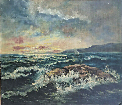 £99.99 • Buy Beating Out Of The Bay In The Sunset Unique Original Antique  Oil On Board C1900