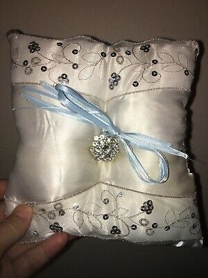 £7.26 • Buy White Ring Bearer Pillow / With Silver Accents : Excellent Condition/ Used Once