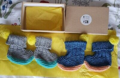 £16 • Buy Petit Albion Luna & Curious 6 M Knitted Baby Boots X2 Pairs Pom Pom RRP £44