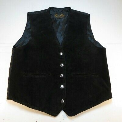 $18.99 • Buy SCULLY BOAR LEATHER SUEDE SNAP UP WESTERN COWBOY VEST Mens M Black